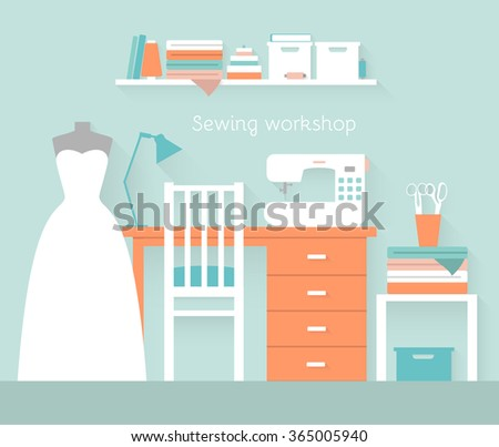 Interior of a wedding sewing workshop. Flat style illustration - stock vector