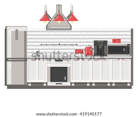 Interior of a white contemporary kitchen. Vector illustration, background, poster, banner, advertisement.