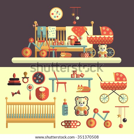 Interior of baby room and set of toys for kids. Vector illustration in flat style design. Isolated elements, bed, nursery, teddy bear, bicycle, milk, rattles, cat, carriage - stock vector