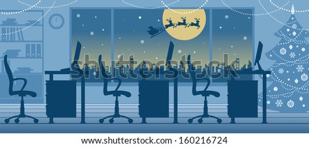 interior of christmas office - stock vector