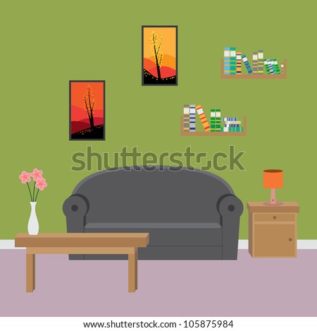 Interior of modern living room. - stock vector