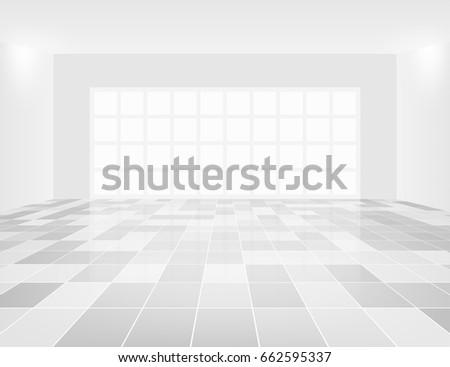 Interior of room with grid line of tile floor for background.