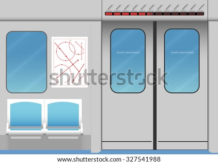 Interior of subway train. Vector illustration. EPS 10, opacity - stock vector