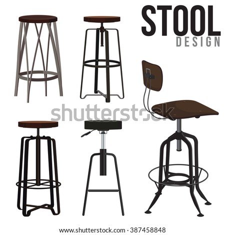 Interior of the bar stool - stock vector