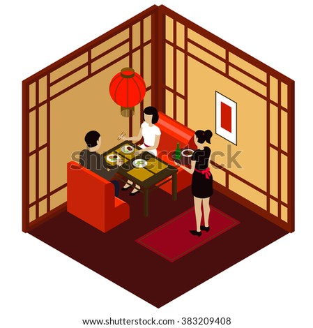 Isometric room stock photos royalty free images vectors - Chinese restaurant interior pictures ...