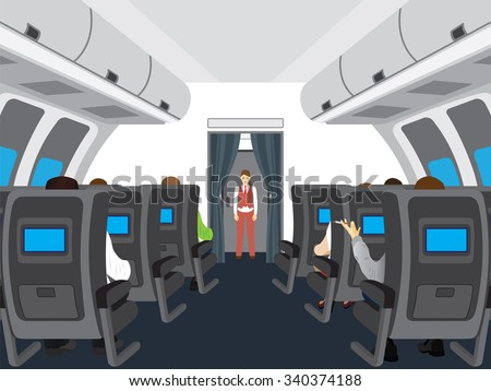 Interior of the plane. Passengers on the plane.  - stock vector