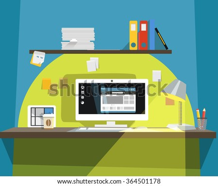Interior of Working place  - stock vector