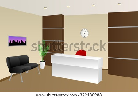 Interior office room reception beige chair cabinet illustration vector - stock vector