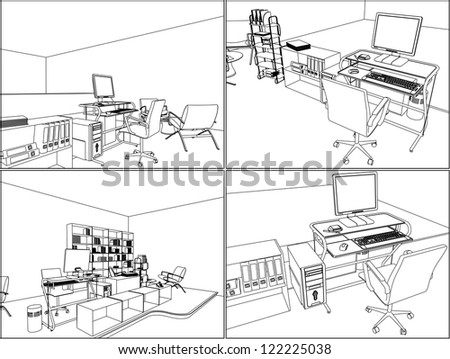 Interior Office Room Vector 11 - stock vector