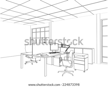 Interior Office Rooms Vector 14 - stock vector