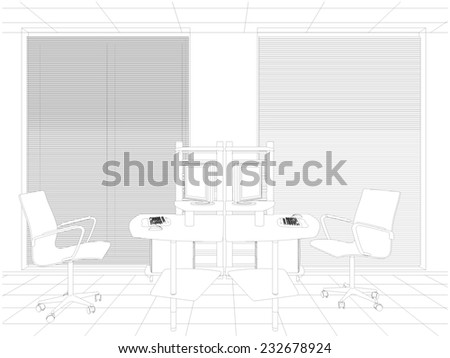 Interior Office Rooms Vector 21 - stock vector