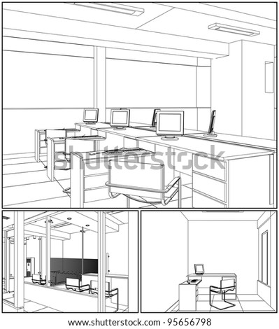Interior Office Rooms Vector 07 - stock vector