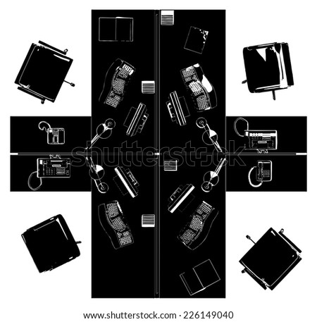 Interior Office Working Place Vector 16