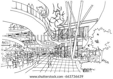 Interior Outline Sketch Drawing Perspective Of A SpaceHall Department Store