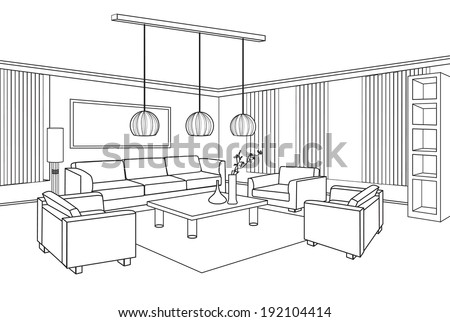 Interior outline sketch. Furniture blueprint. - stock vector