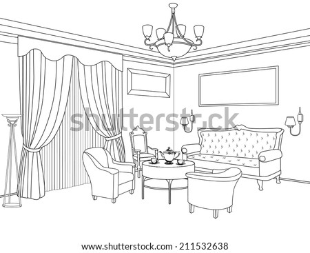 Room Outline Drawing Interior Outline Sketch
