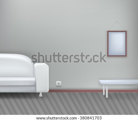 Interior. Realistic white sofa with table. Vector illustration. Room. EPS 10