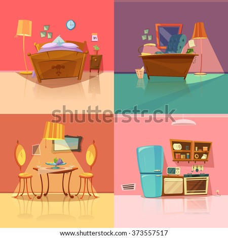 Cartoon bedroom stock images royalty free images for Salle a manger dessin anime