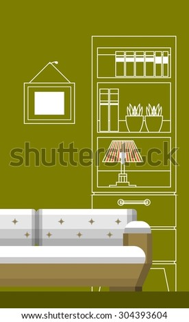 interior room on the vertical poster bed and a flat pattern of lines wardrobe - stock vector
