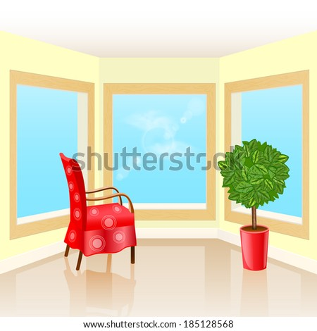 Interior room with three windows, chair and flower - stock vector