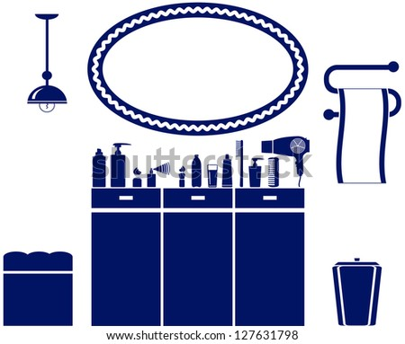 interior set of bathroom icon with cosmetic objects - stock vector