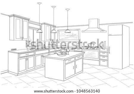 Interior sketch kitchen room outline blueprint stock vector outline blueprint design of kitchen with modern furniture and island malvernweather Image collections