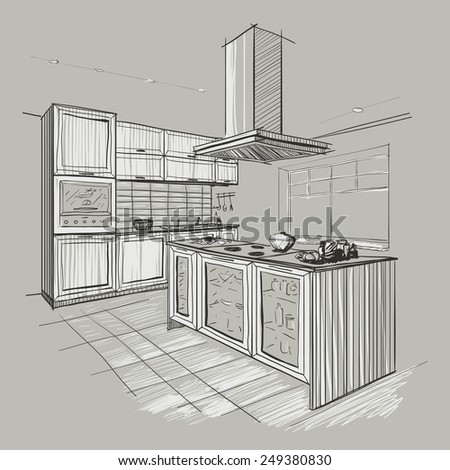 Interior sketch of modern kitchen with island. - stock vector