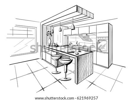 Kitchen Sketch Stock Images Royalty Free Images Vectors Shutterstock