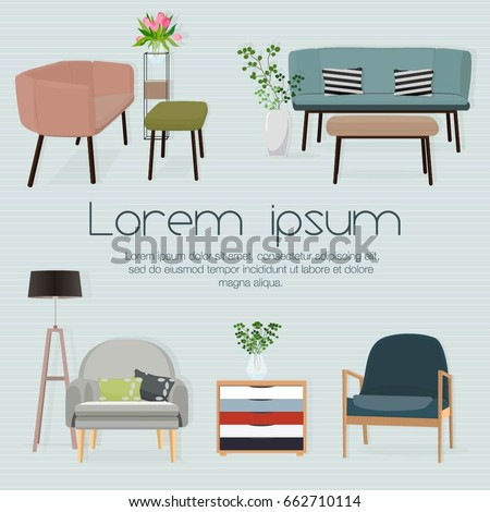 Sofa sets and home accessories  Furniture design  Sofas with  pillows flowerpot. Interior Sofa Sets Home Accessories Furniture Stock Vector