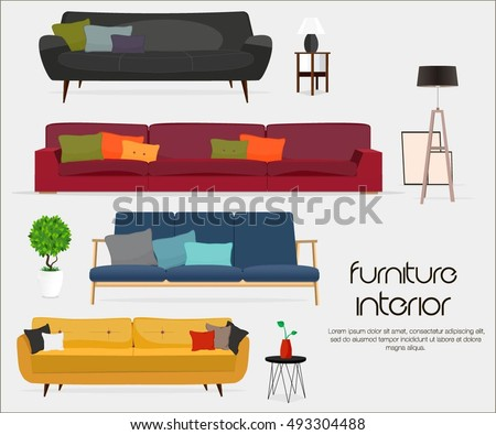 Sofa sets and home accessories  Furniture design  Sofas with pillows  lamps. Interior Sofa Sets Home Accessories Furniture Stock Vector