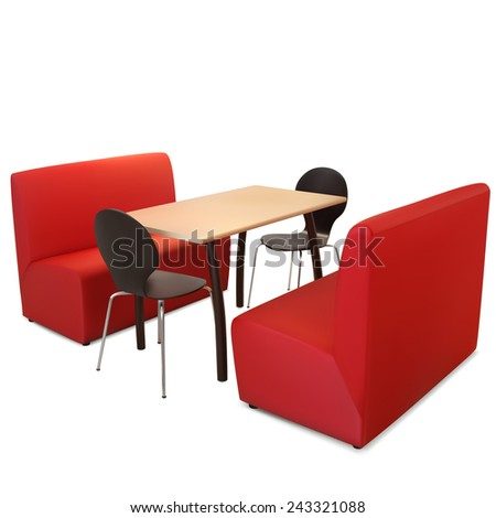Interior table for six. Illustration contains gradient mesh. - stock vector