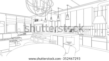 Interior vector drawing. Architectural design. Living room with kitchen.