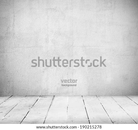 Interior, vintage background of stone wall and wooden floor. Vector illustration - stock vector