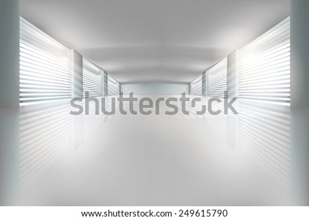 Interior, wide open space. Vector illustration. - stock vector