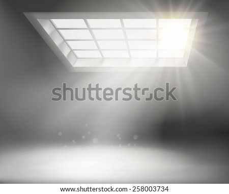 Interior with large window. Vector illustration. - stock vector
