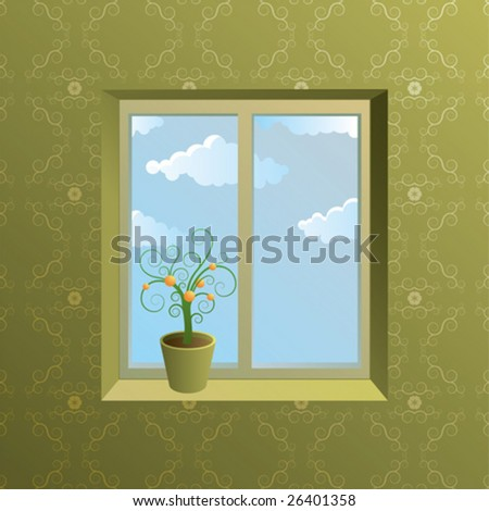 interior with window and pot with flower