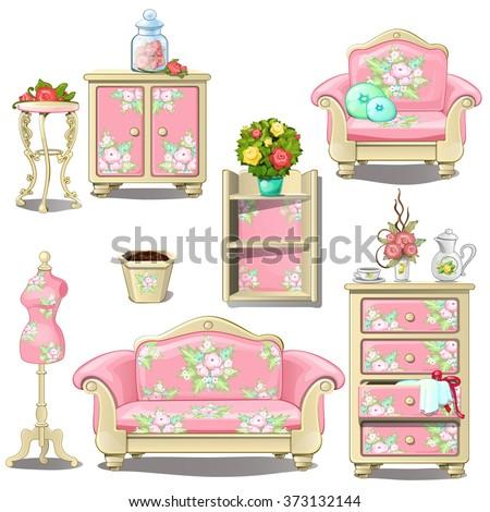 Interior women's room in pink. Vector. - stock vector