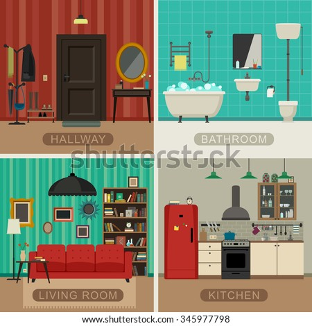 Interiors of living room, kitchen, bathroom and hall. Vector flat illustrations. Basic rooms of apartment. - stock vector