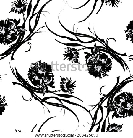 Interlacing Black flowers sketch seamless pattern on white background vector