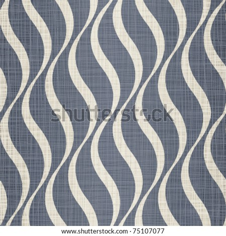 Interlacing darkly dark blue jeans fabric with drawing beige waves - stock vector