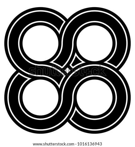 Interlocking Circles 4 Interlocking Circle Symbol Stock Vector