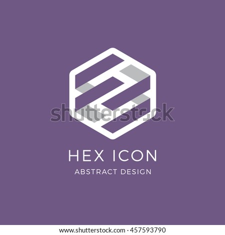 Interlocking hexagon vector graphic logo icon design