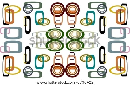 Interlocking squares and circles in vector. - stock vector