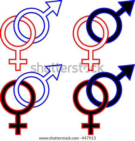 Interlocking union symbols for a man and a woman, black and/or white - stock vector