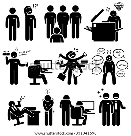 Intern Internship Trainee New Employee Staff at Office Workplace Pictogram