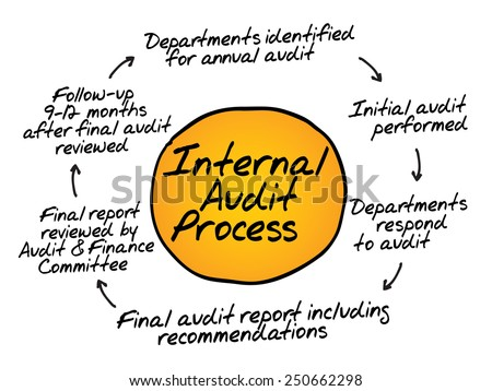 Internal Audit Process flow chart, business concept - stock vector