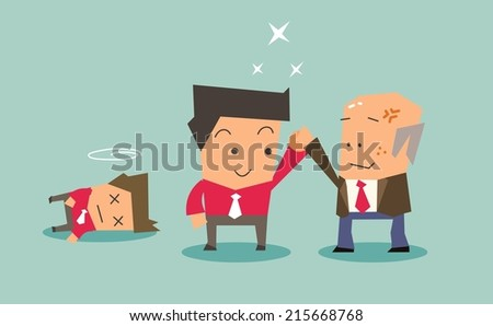Internal competition within company. Flat vector illustration - stock vector
