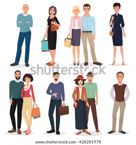 International adult people couples collection with shopping bags. Adults set. - stock vector