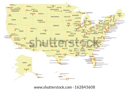 Us Map States Vector Stock Photos RoyaltyFree Images Vectors - Map of major airports in us