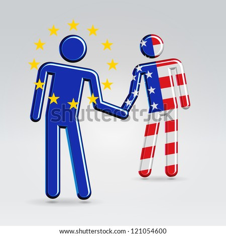 International business between USA and EU collaboration concept illustration - stock vector